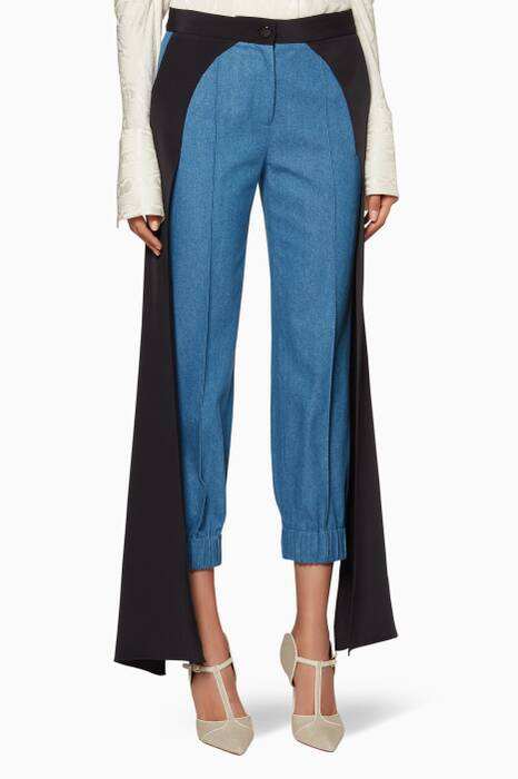 Blue & Black  Panel-Detail Jagger Pants