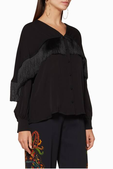 Black Fringed Long-Sleeve Blouse
