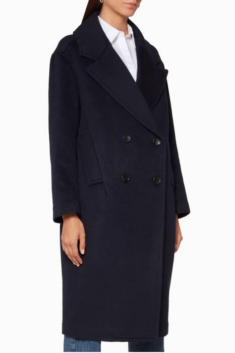 Navy Oversized Double-Breasted Coat