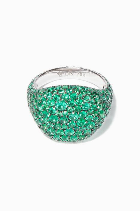 White-Gold & Emerald Pavé Pinky Ring