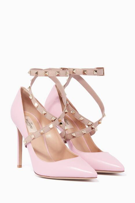 Pink Cross-Over Wrap Rockstud Pumps
