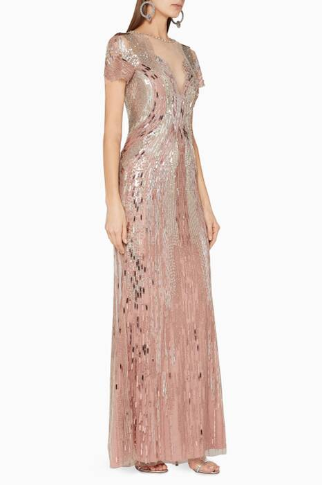 Rose-Bronze Sequin-Embellished Aurora Gown