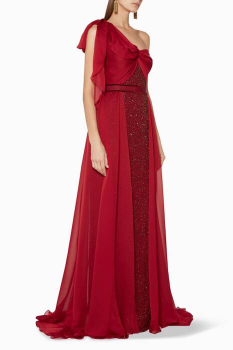 Atomic-Red One-Shoulder Ophelia Gown