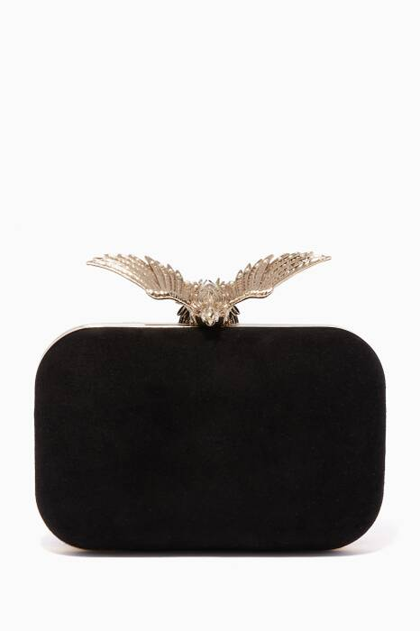 Black Cloud Black Suede Clutch