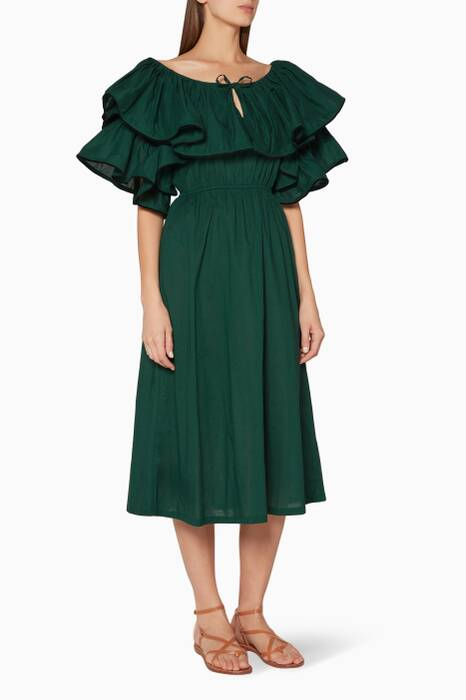 Hunter-Green Blanca Midi Dress