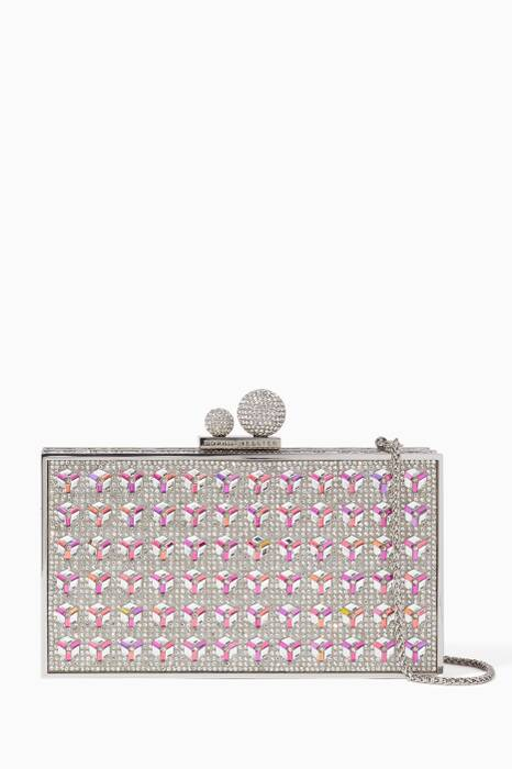Silver Embellished Clara Box Clutch
