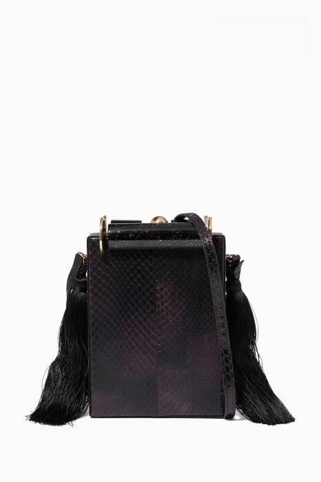 Dark-Purple Kaya Snakeskin & Marble Cross-Body Bag