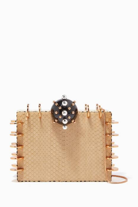 Marble-Dust Oneka Snakeskin Chain Clutch