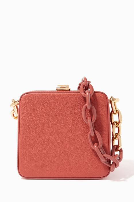 Orange Textured-Leather Cube Bag