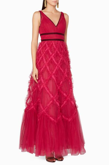 Berry-Red Sleeveless Lattice Gown