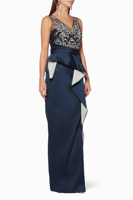 Navy Two-Tone Peplum Column Gown