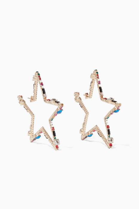 Gold Crystal Embellished Star Earrings