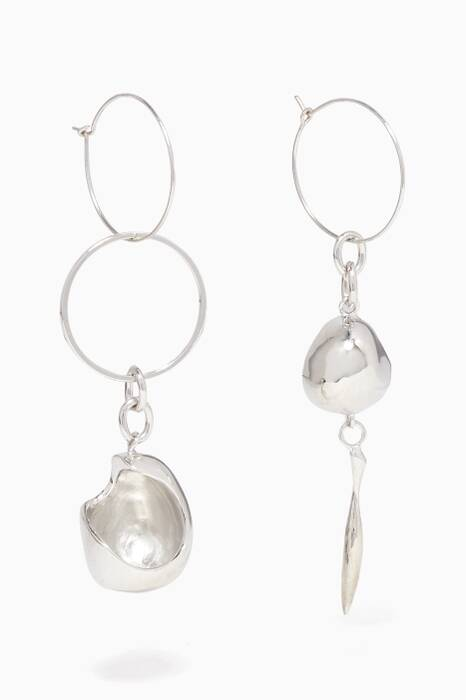 Silver Gravels Hoop Earrings
