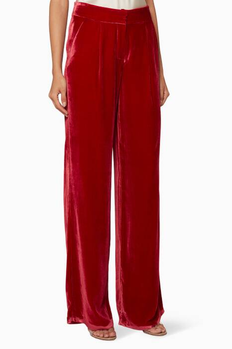 Red Pleated Wide-Leg Pants