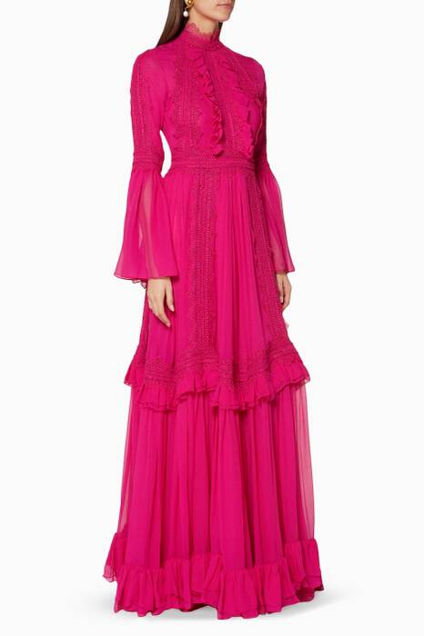 Bright-Pink Ruffled Neck Maxi Dress