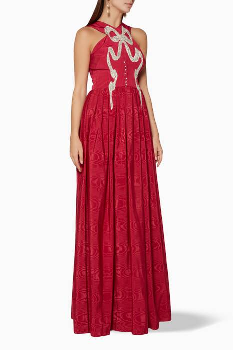 Red Anemone Bow Embellished Gown