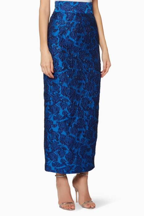 Dark-Blue Bellflower Pencil Skirt