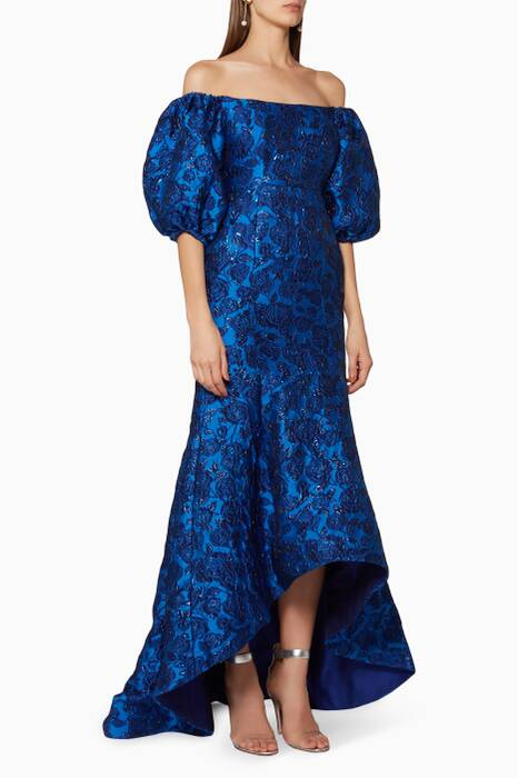 Dark-Blue Off-The-Shoulder Bellflower Gown