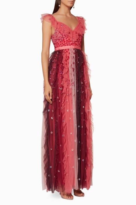 Cherry Embellished Rainbow Gown