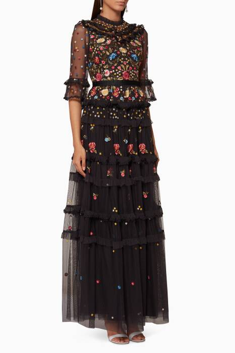 Black Pandora Embellished Gown