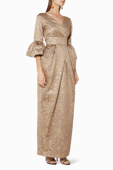 Bronze Metallic Jacquard Gown