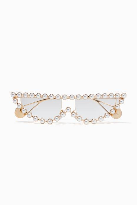 Gold Cat-Eye Metal Glasses With Pearls