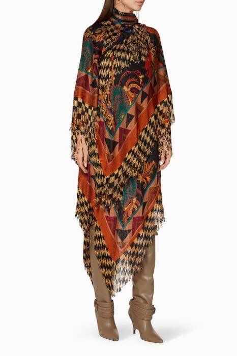 Multi-colour Patterned Fringed Dress