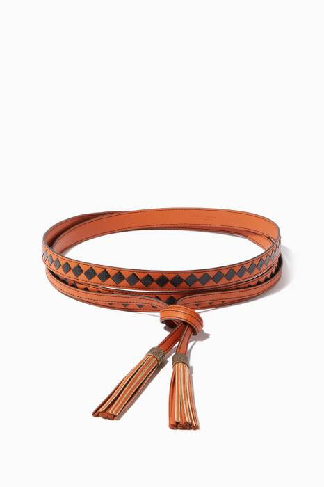 Orange & Black intrecciato Wrap Belt