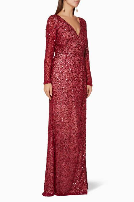 Berry-Red Embellished Trixie Gown