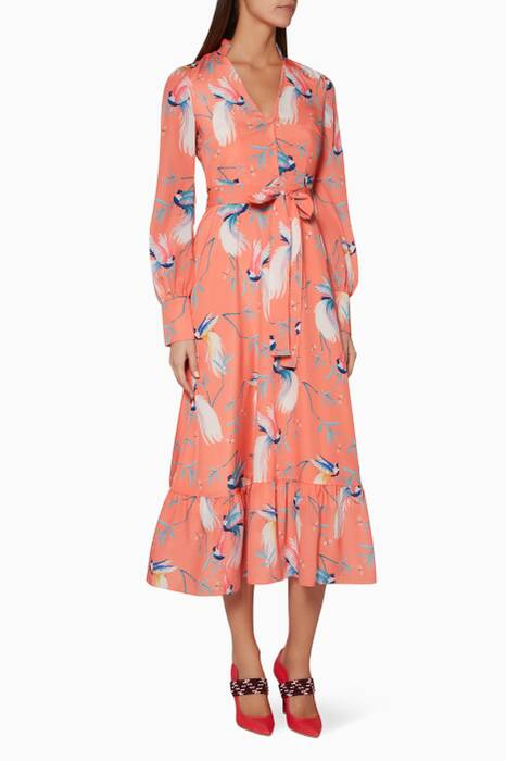 Coral Ilaria Printed Midi Dress