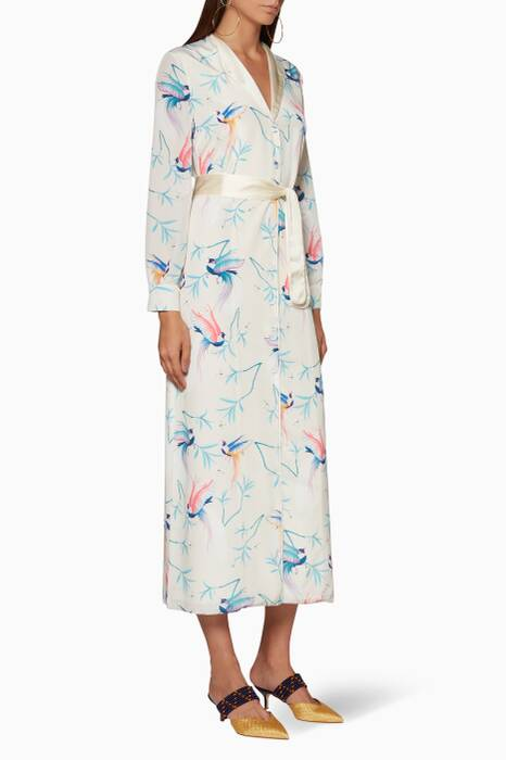 White Printed Teresa Midi Dress