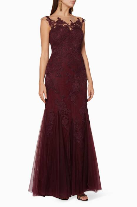 Burgundy-Red Lace Godet Gown