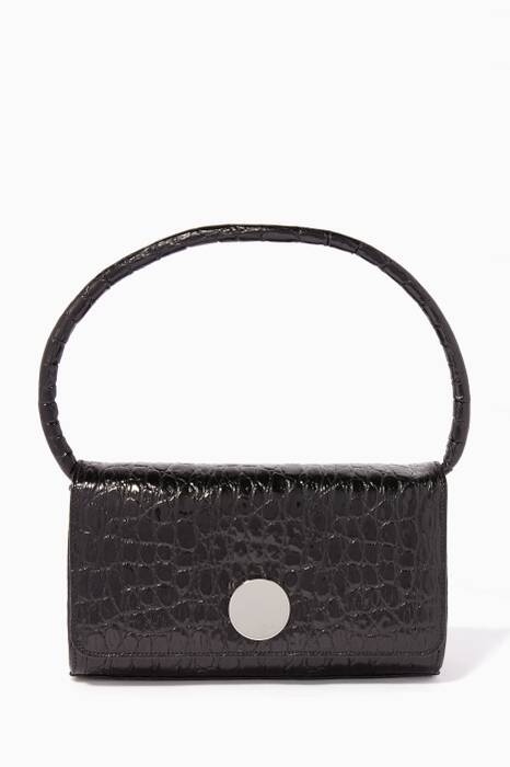 Black Crocodile-Embossed Mini Baguette Bag