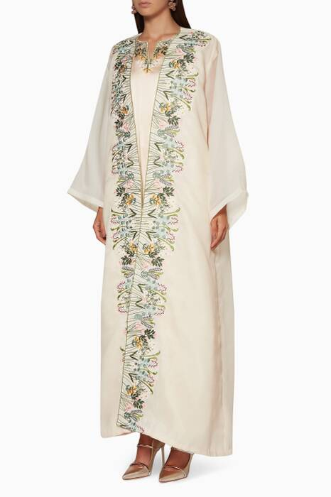 Beige Floral Embroidered Dress with Cover Up