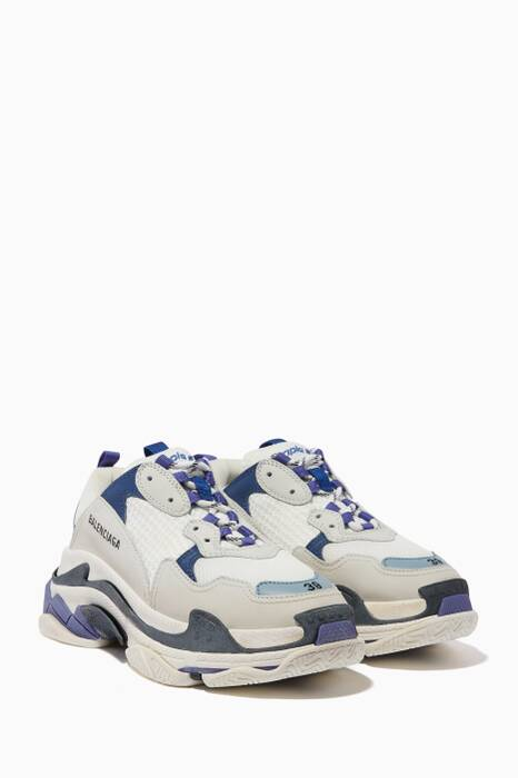 White & Purple Triple S Sneakers