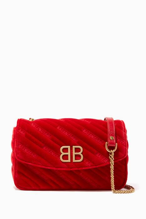 Red BB Chain Quilted Velvet Wallet
