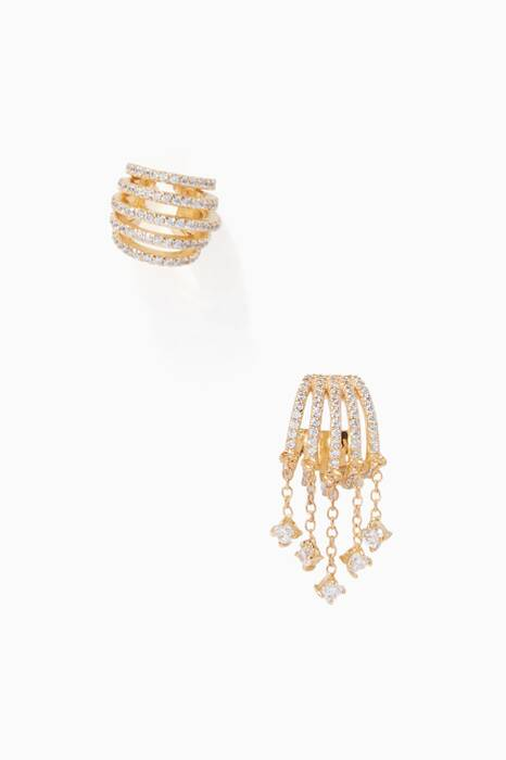 Gold Criss-Cross Earrings Set