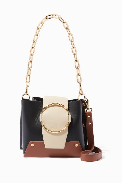 Black Colour-Block Delila Bucket Bag