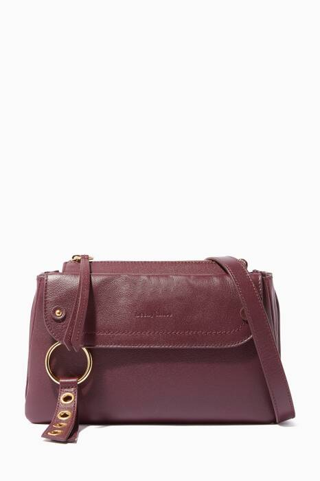 Dark-Purple Leather Small Shoulder Bag