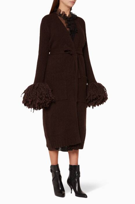 Espresso-Brown Fringed-Sleeve Cardigan