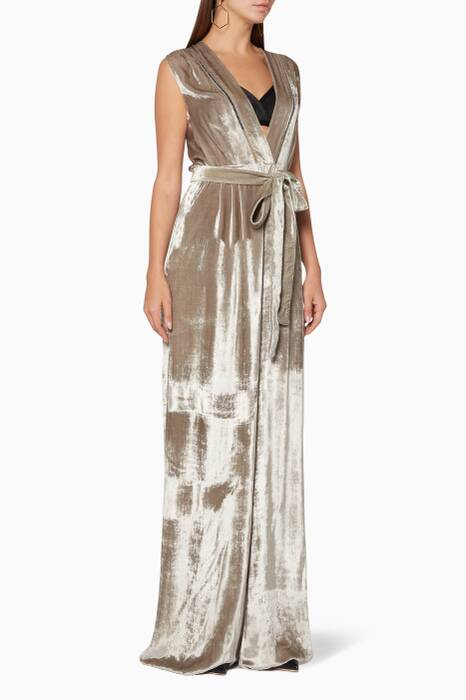 Dark-Cement Silk Pleated Jumpsuit