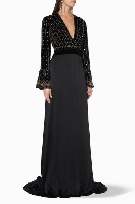 Black Embellished Long-Sleeve Gown