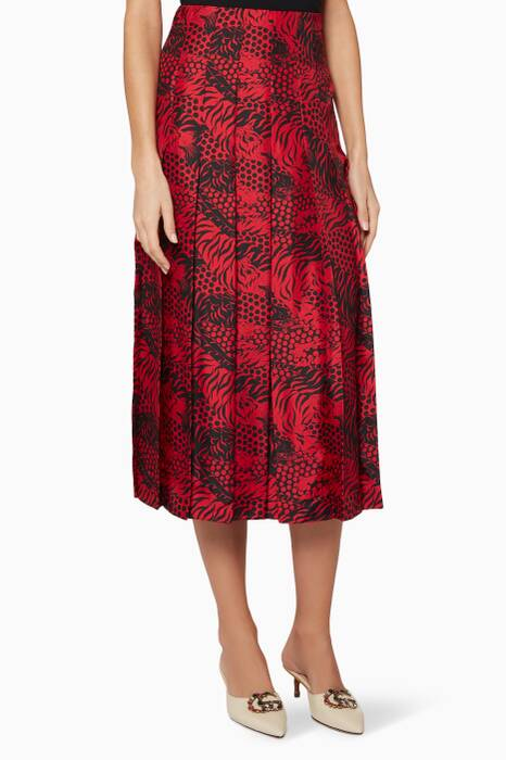 Red Graphic Tiger Pleated Skirt