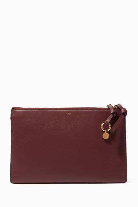 Burnt-Brown Flat Leather Pouch