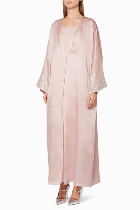 Light-Pink Embellished Robe & Kaftan Set