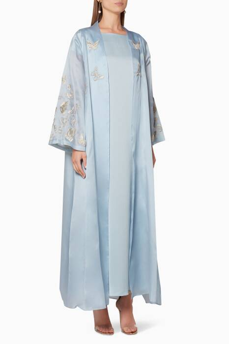 Light-Blue Embroidered Robe & Kaftan Set