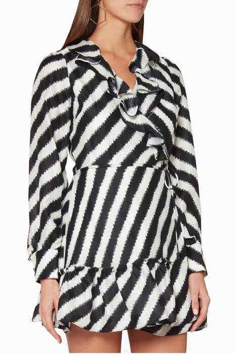 Black & White Striped Tablas Mini Dress