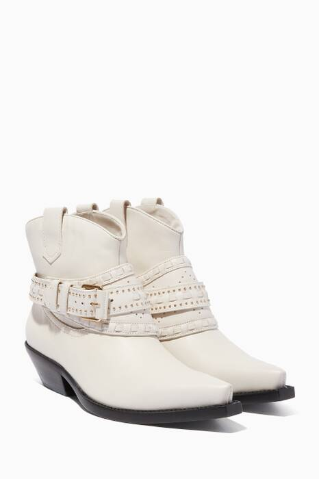 White Leather Cowboy Booties