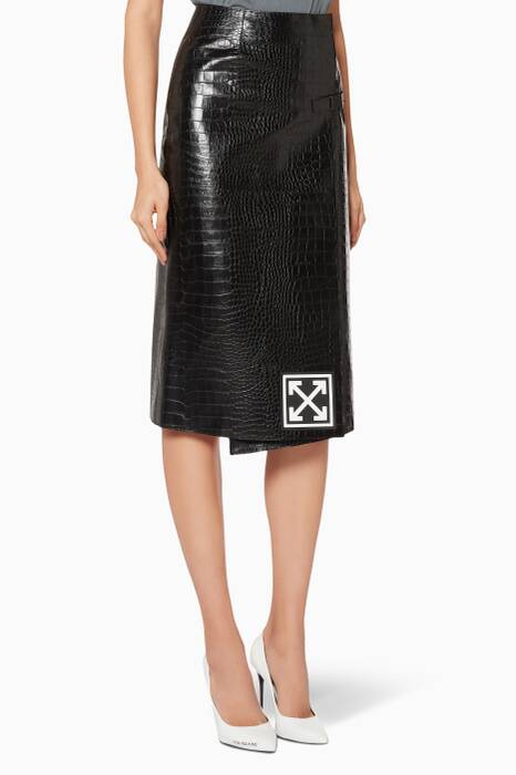 Black Wallet Crocodile-Embossed Leather Skirt