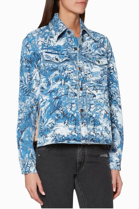 Blue Tapestry-Pattern Cropped Shirt